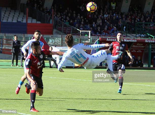 Dries Mertens of Napoli in action during the Serie A match between Cagliari Calcio and SSC Napoli at Stadio Sant'Elia on December 11 2016 in Cagliari...