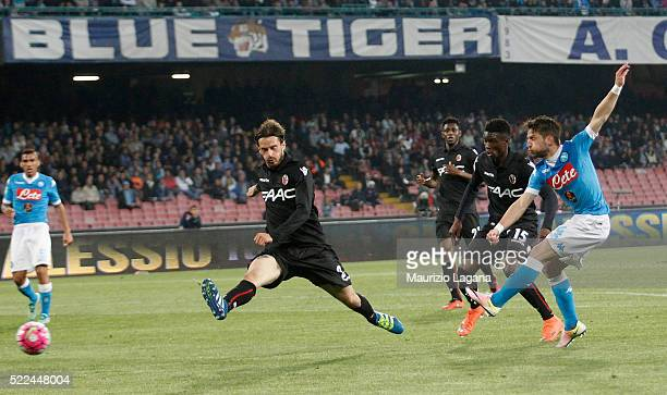 Dries Mertens of Napoli scores his team's third goal during the Serie A match between SSC Napoli and Bologna FC at Stadio San Paolo on April 19 2016...