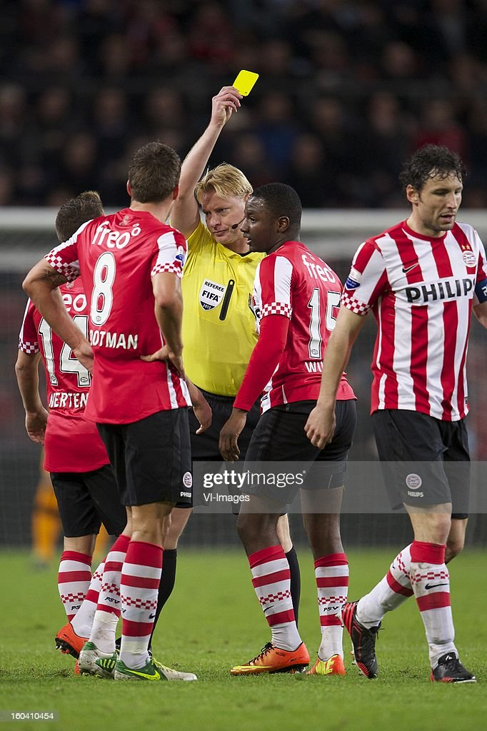 Dries Mertens of PSV, Kevin Strootman of PSV, referee Kevin Blom, Jetro Willems of PSV, Mark van Bommel of PSV during the Dutch Cup match between PSV Eindhoven and Feyenoord at the Philips Stadium on january 30, 2013 in Eindhoven, The Netherlands