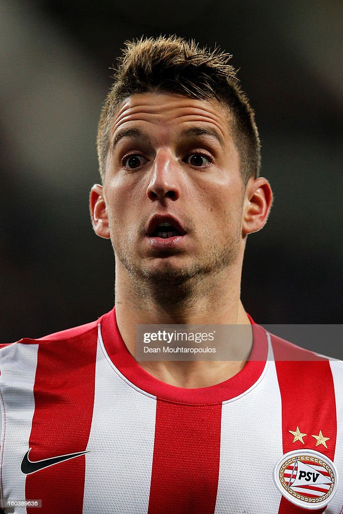 <a gi-track='captionPersonalityLinkClicked' href=/galleries/search?phrase=Dries+Mertens&family=editorial&specificpeople=6524919 ng-click='$event.stopPropagation()'>Dries Mertens</a> of PSV reacts as he waits for the ball during the KNVB Dutch Cup match between PSV Eindhoven and Feyenoord Rotterdam at Philips Stadion on January 30, 2013 in Eindhoven, Netherlands.