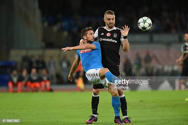 Dries Mertens of SSC Napoli and Caner Erkin of Besiktas during the UEFA Champions League match between SSC Napoli and Besiktas at Stadio San Paolo...