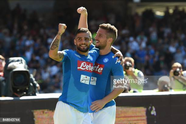 Dries Mertens of SSC Napoli and Lorenzo Insigne of SSC Napoli celebrates after scoring during the Serie A TIM match between SSC Napoli and Benevento...