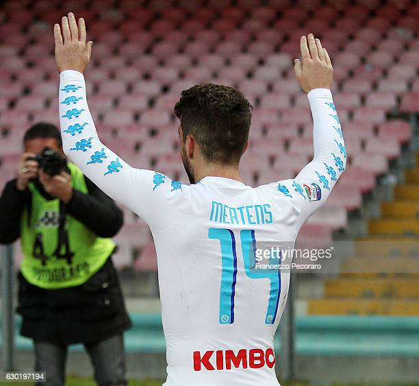 Dries Mertens of SSC Napoli celebrate the victory after the Serie A match between SSC Napoli and FC Torino at Stadio San Paolo on December 18 2016 in...
