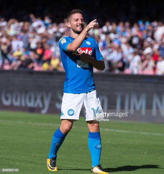 Dries Mertens of SSC Napoli celebrates after scoring during the Italian Serie A match between SSC Napoli and Benevento at San Paolo Stadium on...