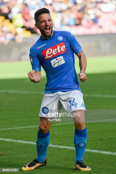 Dries Mertens of SSC Napoli celebrates after scoring during the Serie A TIM match between SSC Napoli and Benevento Calcio at Stadio San Paolo Naples...