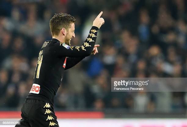 Dries Mertens of SSC Napoli celebrates after scoring goal 10 during the Serie A match between SSC Napoli and Udinese Calcio at Stadio San Paolo on...