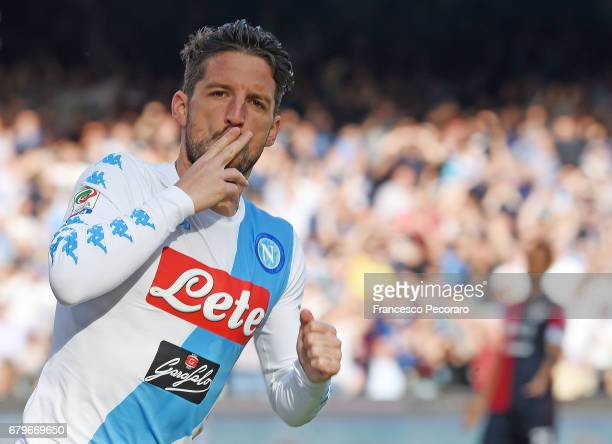 Dries Mertens of SSC Napoli celebrates after scoring goal 10 during the Serie A match between SSC Napoli and Cagliari Calcio at Stadio San Paolo on...