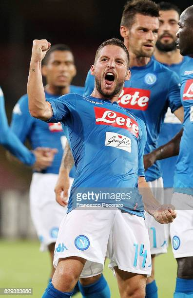 Dries Mertens of SSC Napoli celebrates after scoring goal 10 during the preseason friendly match between SSC Napoli and Espanyol at Stadio San Paolo...