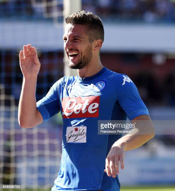 Dries Mertens of SSC Napoli celebrates after scoring goal 50 during the Serie A match between SSC Napoli and Benevento Calcio at Stadio San Paolo on...