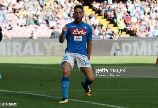 Dries Mertens of SSC Napoli celebrates after scoring goal 60 during the Serie A match between SSC Napoli and Benevento Calcio at Stadio San Paolo on...