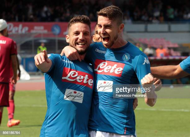Dries Mertens of SSC Napoli celebrates after scoring his team's second goal during the Serie A match between SSC Napoli and Cagliari Calcio at Stadio...
