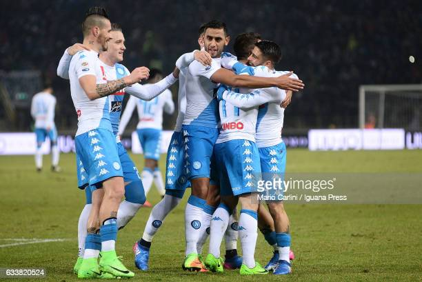 Dries Mertens of SSC Napoli celebrates after scoring his team's third goal during the Serie A match between Bologna FC and SSC Napoli at Stadio...