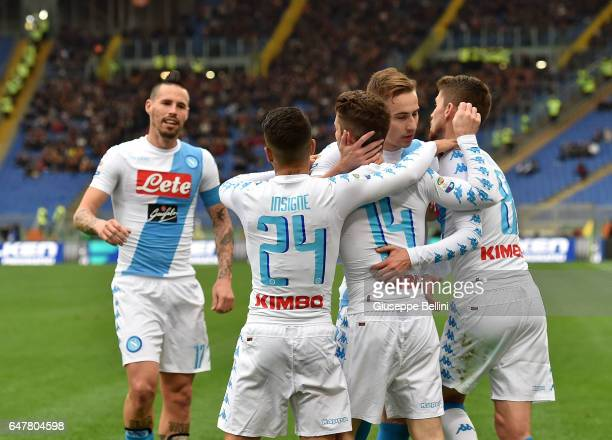 Dries Mertens of SSC Napoli celebrates after scoring the opening goal during the Serie A match between AS Roma and SSC Napoli at Stadio Olimpico on...