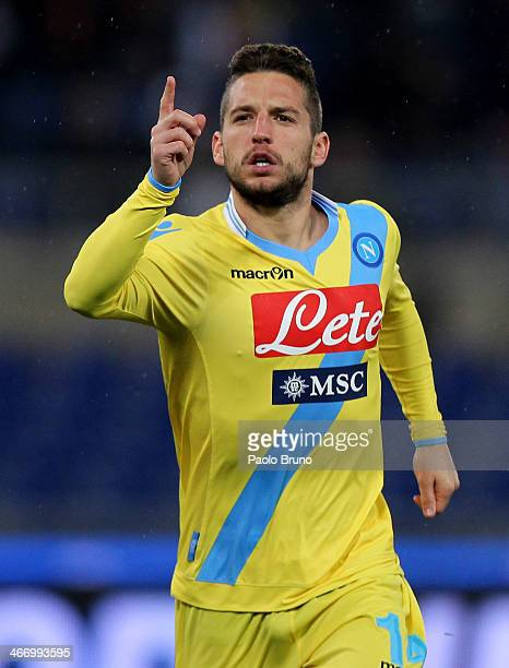 Dries Mertens of SSC Napoli celebrates after scoring their second goal during the TIM Cup match between AS Roma and SSC Napoli at Olimpico Stadium on...