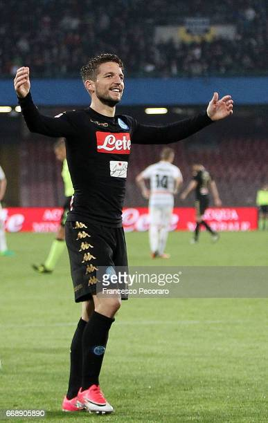 Dries Mertens of SSC Napoli celebrates after the 30 scored by Jose Callejon during the Serie A match between SSC Napoli and Udinese Calcio at Stadio...
