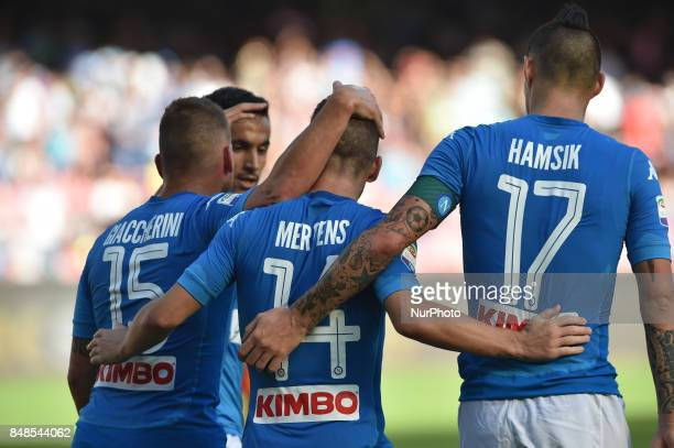 Dries Mertens of SSC Napoli celebrates with team mates during the Serie A TIM match between SSC Napoli and Benevento Calcio at Stadio San Paolo...