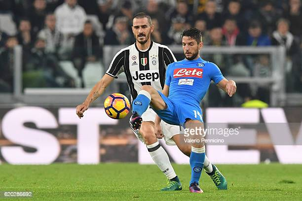 Dries Mertens of SSC Napoli controls the ball against Leonardo Bonucci of Juventus FC during the Serie A match between Juventus FC and SSC Napoli at...