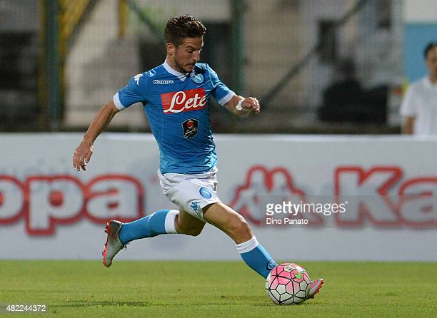 Dries Mertens of SSC Napoli in action during the preseason frienldy match between SSC Napoli and Feralpi Salo at Stadio Briamasco on July 24 2015 in...