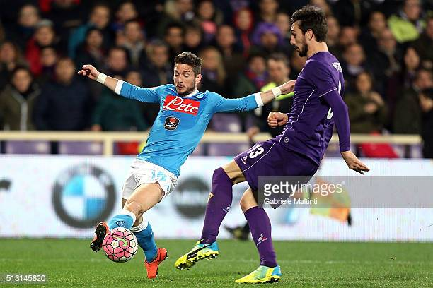 Dries Mertens of SSC Napoli in action during the Serie A match between ACF Fiorentina and SSC Napoli at Stadio Artemio Franchi on February 29 2016 in...