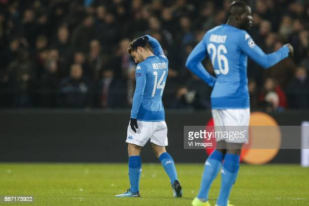 Dries Mertens of SSC Napoli Kalidou Koulibaly of SSC Napoli during the UEFA Champions League group F match between Feyenoord Rotterdam and SSC Napoli...