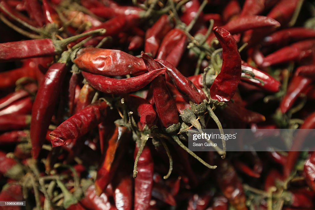 Dries paprika from Hungary lies on display at the 2013 Gruene Woche agricultural trade fair on January 18, 2013 in Berlin, Germany. The Gruene Woche, which is the world's largest agricultural trade fair, runs from January 18-27, and this year's partner country is Holland.