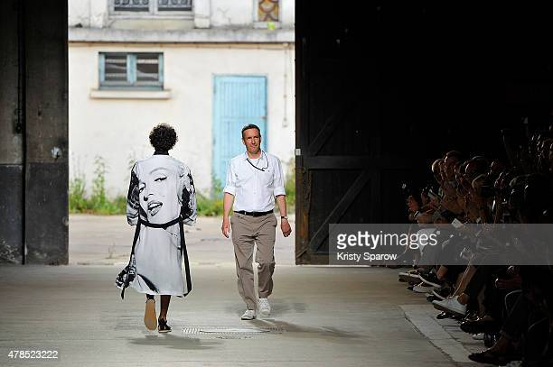 Dries Van Noten acknowledges the audience during the Dries Van Noten Menswear Spring/Summer 2016 show as part of Paris Fashion Week on June 25 2015...
