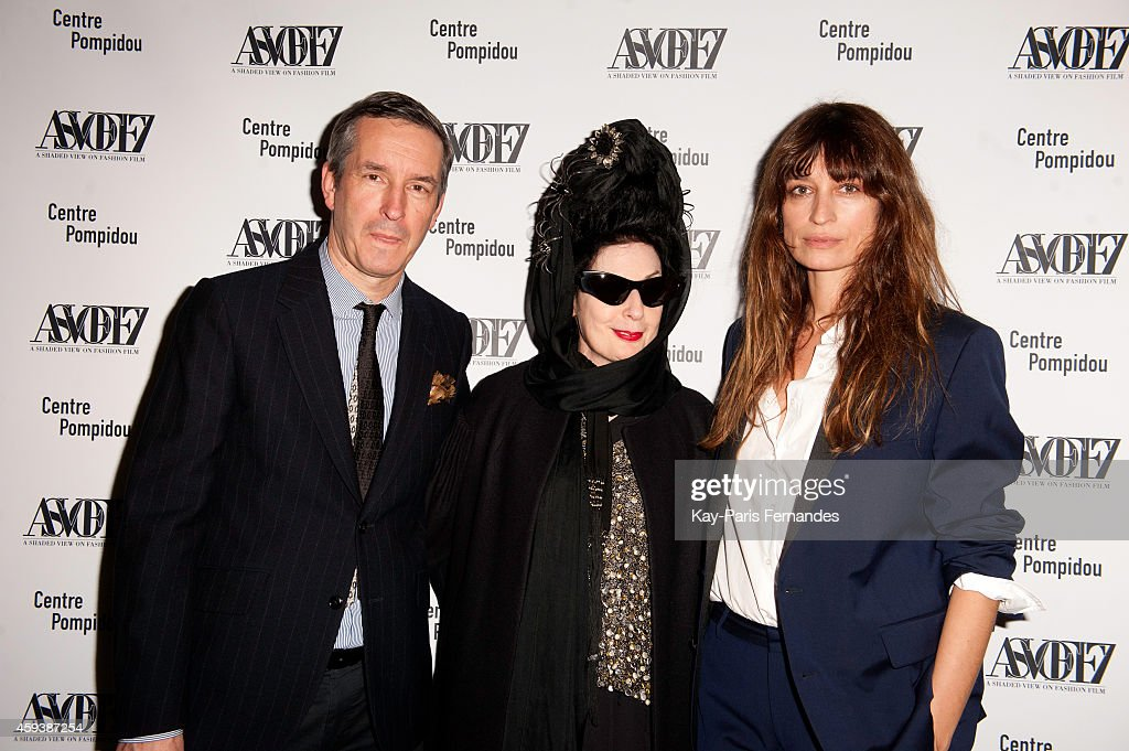 Dries Van Noten, <a gi-track='captionPersonalityLinkClicked' href=/galleries/search?phrase=Diane+Pernet&family=editorial&specificpeople=4347865 ng-click='$event.stopPropagation()'>Diane Pernet</a> and Caroline De Maigret attend the ASVOFF 7 : Opening Ceremony At Beaubourg on November 21, 2014 in Paris, France.