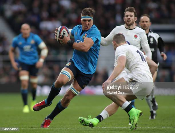 Dries van Schalkwyk of Italy runs with the ball during the RBS 6 Nations match between England and Italy at Twickenham Stadium on February 26 2017 in...