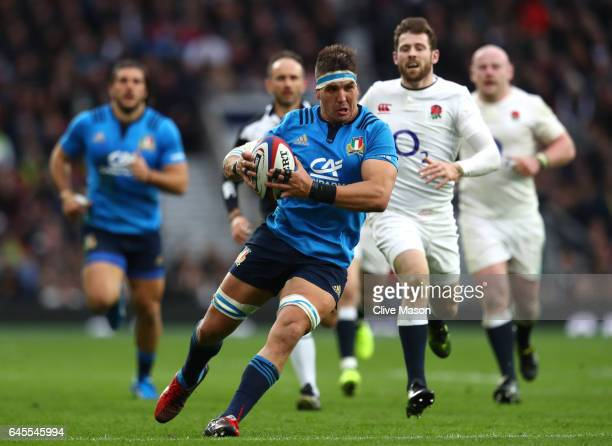 Dries van Schalkwyk of Italy runs with the ball during the RBS Six Nations match between England and Italy at Twickenham Stadium on February 26 2017...