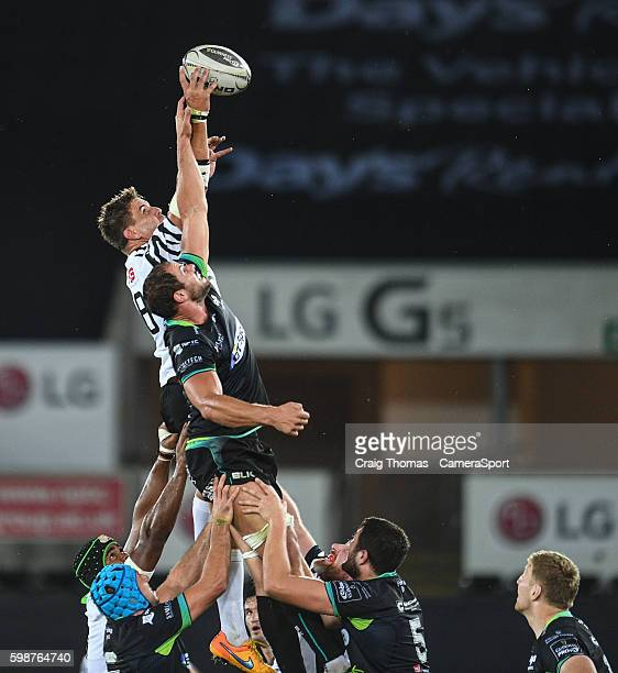 Dries van Schalkwyk of Zebre takes clean lineout ball during the Guinness PRO12 Round 1 match between Ospreys and Zebre Rugby at Liberty Stadium on...