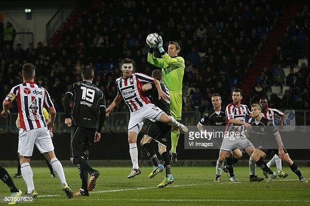 Dries Wuytens of Willem II Bram Castro of Heracles Almelo during the Dutch Eredivisie match between Willem II Tilburg and Heracles Almelo at Koning...