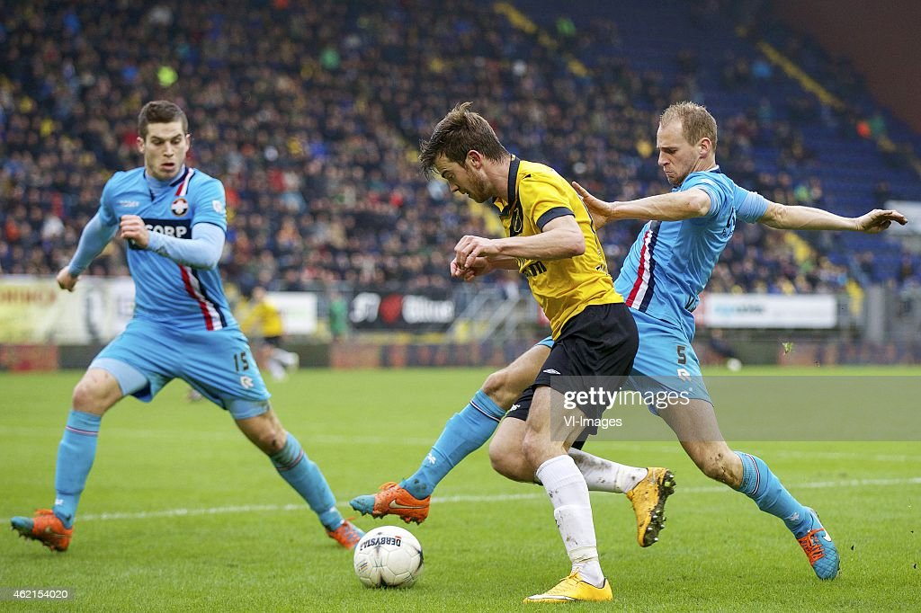 Dries Wuytens of Willem II Erik Falkenburg of NAC Breda Frank van der Struijk of Willem II during the Dutch Eredivisie match between NAC Breda and...