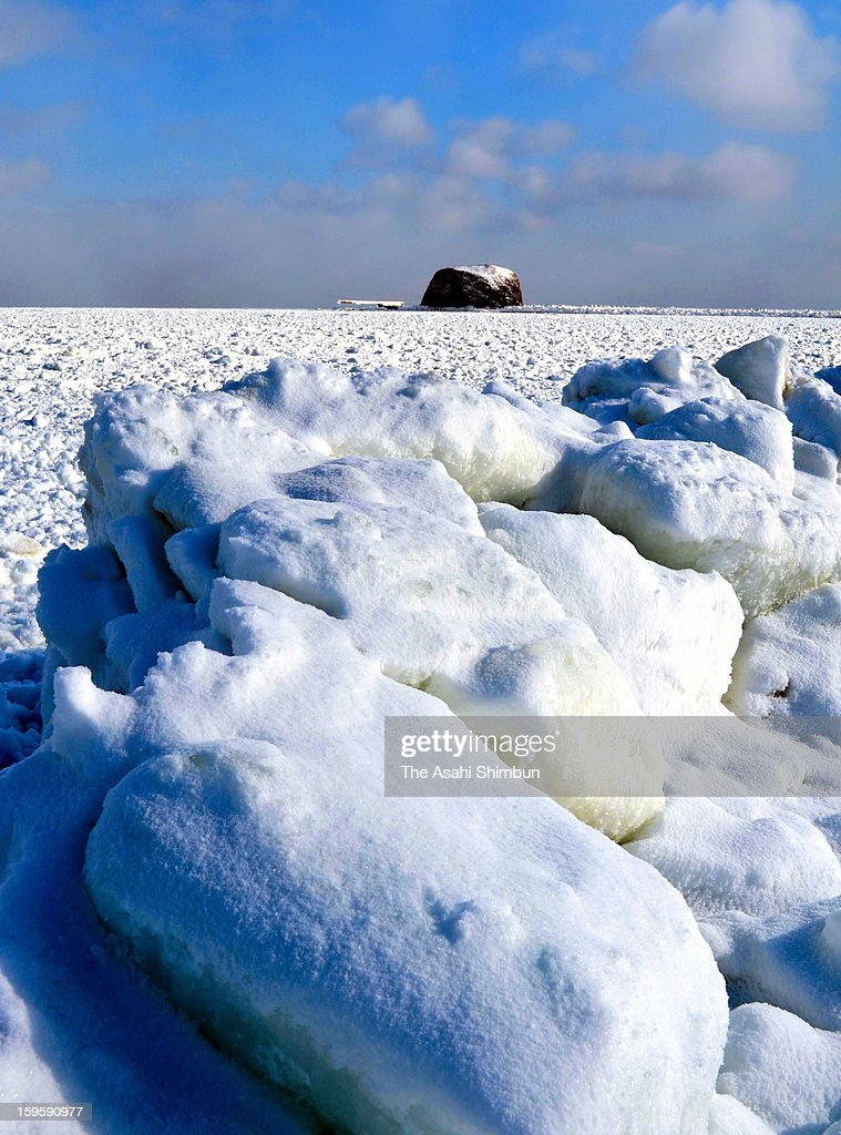 Drift ice is seen arriving at a coast of Abashiri on January 17, 2013 in Abashiri, Hokkaido, Japan. Drift ice in Sea of Okhotsk is known as one of Hokkaido's winter attraction.