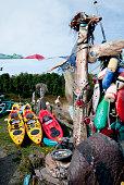 Driftwood art statue on Orcas Island, Washington State, USA