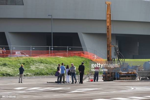 A drill in front of Afragola's highspeed rail station TAV and workers while drilling to look for toxic waste burial On the spot there were also the...