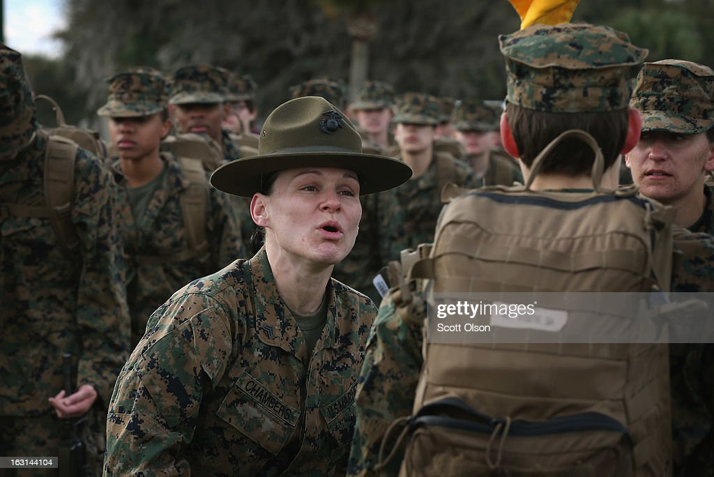 Drill Instructor Sgt. Chasitie Chambers from Bear, Delaware speaks to her female Marine recruits during boot camp February 27, 2013 at MCRD Parris Island, South Carolina. Female enlisted Marines have gone through recruit training at the base since 1949. About 11 percent of female recruits who arrive at the boot camp fail to complete the training, which can be physically and mentally demanding. On January 24, 2013 Secretary of Defense Leon Panetta rescinded an order, which had been in place since 1994, that restricted women from being attached to ground combat units. About six percent of enlisted Marines are female.