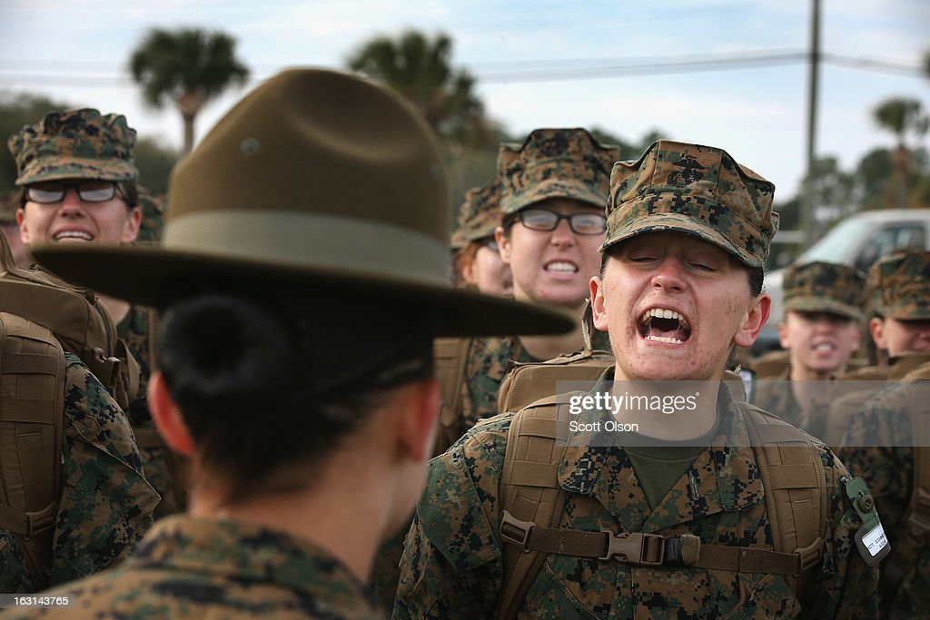 Drill Instructor SSgt. Linda Vansickle from Pensacola, Florida speaks to her female Marine recruits during boot camp February 26, 2013 at MCRD Parris Island, South Carolina. Female enlisted Marines have gone through recruit training at the base since 1949. About 11 percent of female recruits who arrive at the boot camp fail to complete the training, which can be physically and mentally demanding. On January 24, 2013 Secretary of Defense Leon Panetta rescinded an order, which had been in place since 1994, that restricted women from being attached to ground combat units. About six percent of enlisted Marines are female.