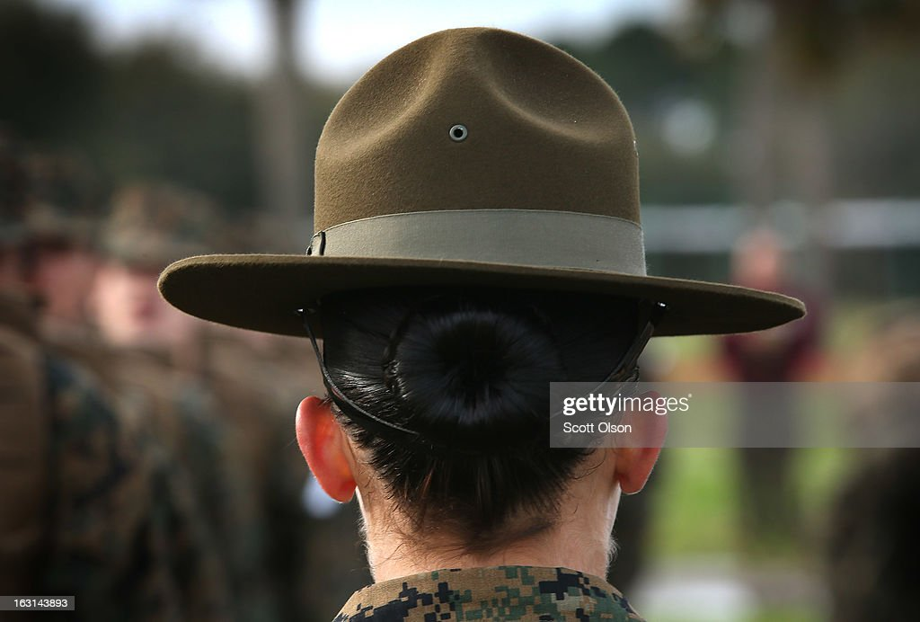 Drill Instructor SSgt. Linda Vansickle from Pensacola, Florida speaks to her female Marine recruits during boot camp February 27, 2013 at MCRD Parris Island, South Carolina. Female enlisted Marines have gone through recruit training at the base since 1949. About 11 percent of female recruits who arrive at the boot camp fail to complete the training, which can be physically and mentally demanding. On January 24, 2013 Secretary of Defense Leon Panetta rescinded an order, which had been in place since 1994, that restricted women from being attached to ground combat units. About six percent of enlisted Marines are female.