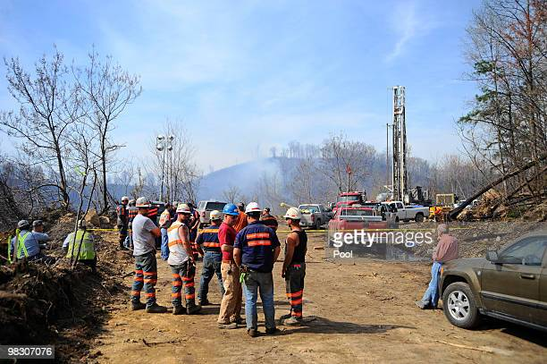Drilling efforts take place above Massey Energy's Upper Big Branch Coal Mine April 7 2010 in Montcoal West Virginia A 560 foot rotary drill which is...