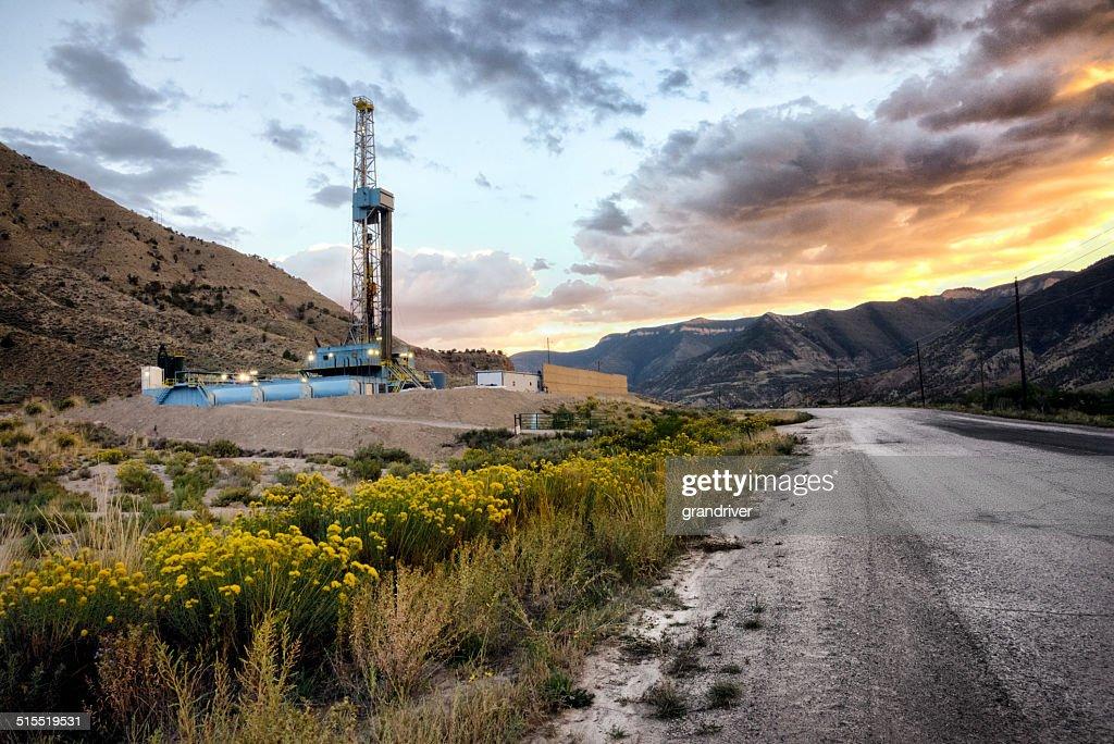 Drilling Fracking Rig at Sunrise