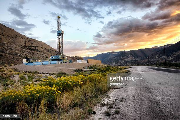 Drilling Fracking Rig at Sunrise