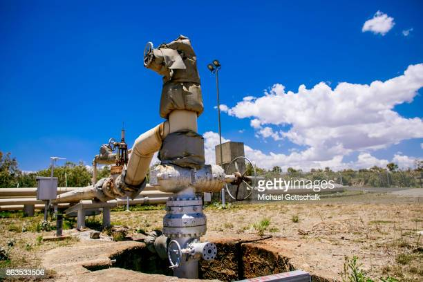 A drilling hole at environmentally friendly and renewable energy generation in the KenGen or Kenya General Energy Olkaria geothermal power station II...
