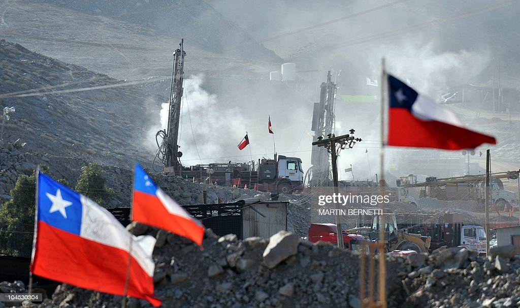Drilling machines work in the rescue operation to free 33 miners trapped in the San Esteban gold and copper mine in Copiapo 800 km north of Santiago...