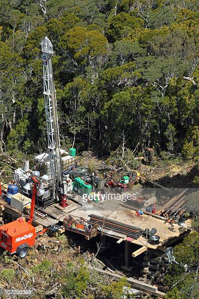 A drilling platform is seen at the Pike River Mine on November 30 2010 in Greymouth New Zealand Rescue teams have been working around the clock to...
