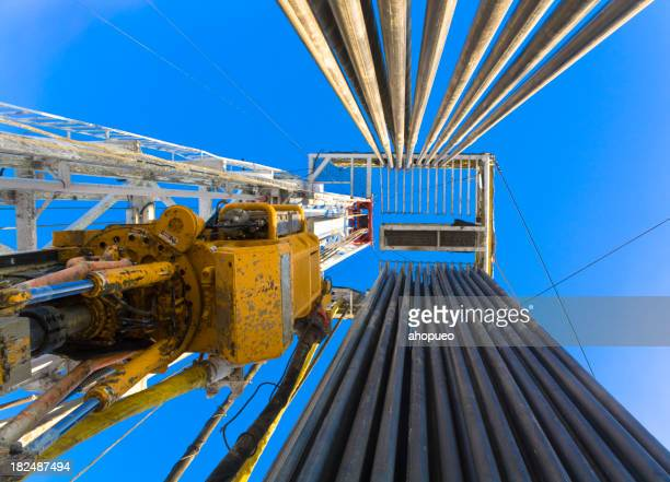 Drilling rig loaded with stands bottom-upwards view