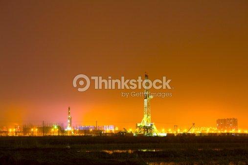 Drilling Rig Silhouette Stock Photo   Thinkstock