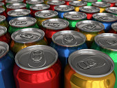 Colorful drinks cans 3d render depth of field