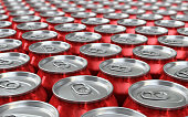 3d render Red Drink Cans Depth of field (close-up)