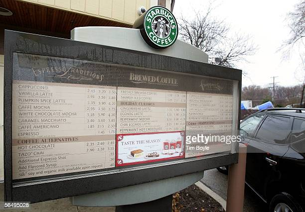 A drink menu is seen outside a Starbucks drivethru December 28 2005 in Wheeling Illinois Starbucks opened 354 drivethru stores in the US in the past...