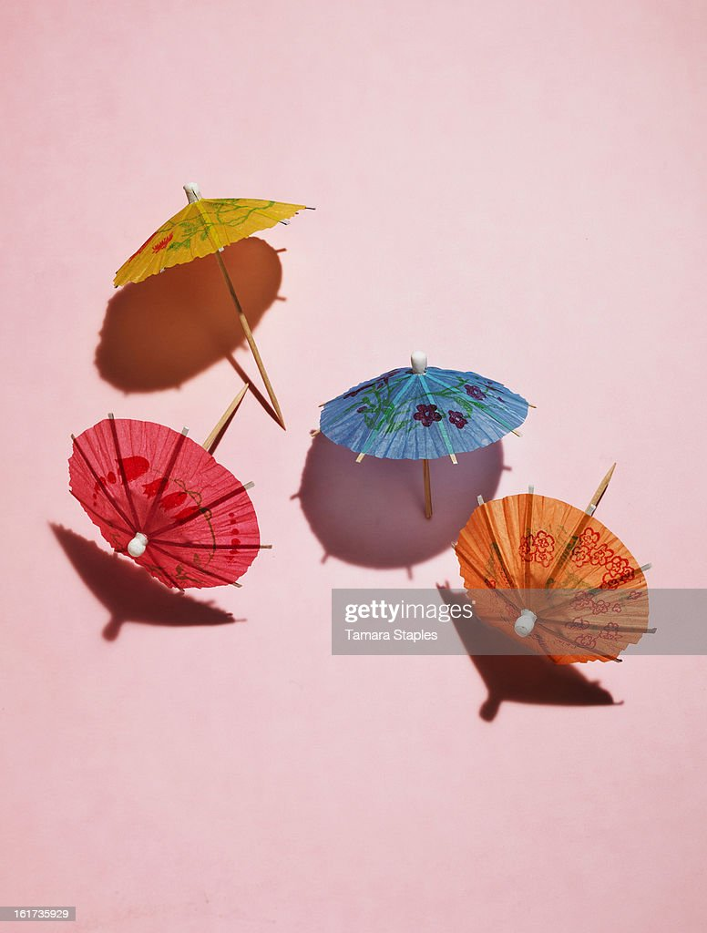 Drink Umbrellas on Pink